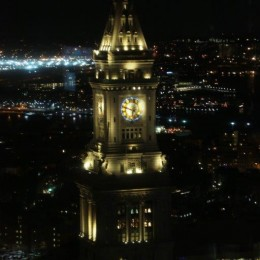 view of Boston Customs Building from window of the gala