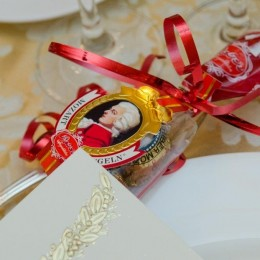 gifts at the place settings  on the corporate tables