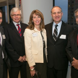 Erik Dilger, German Consul General Helmut Landes, Marian LeMay, Erkut Gömülü President of the Turkish Chamber of Commerce, and Mexican Consul General Daniel Hernandez Joseph