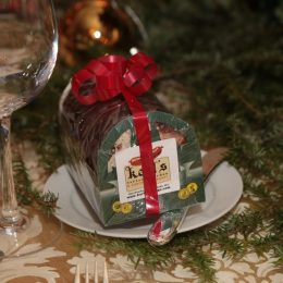 Christmas treats provided for every guest at a Corporate Table generously donated by Karl's Sausage Kitchen, Peabody, MA